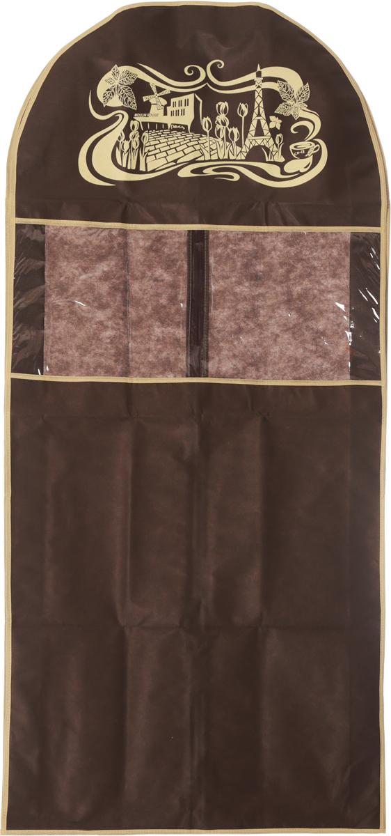 Чехол для костюма Все на местах Париж, цвет: темно-коричневый, бежевый, 130 х 60 х 10 см1002009.Чехол Все на местах Париж изготовлен из сочетания спанбонда и ПВХ и предназначен для хранения костюма. Нетканый материал чехла пропускает воздух, что позволяет изделиям дышать. Благодаря пластиковым вставкам на передней части, чехол идеально держит форму и его стенки не соприкасаются с мехом изделия и не приминают его. С таким чехлом любой костюм надежно защищен от попадания запаха, пыли и механического воздействия. Застегивается на застежку-молнию на задней стенке. Материал: спанбонд, ПВХ.