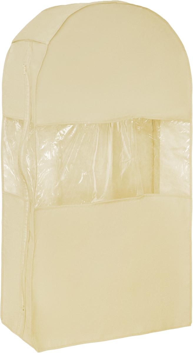 Чехол для шуб Все на местах Minimalistic. Lux, цвет: бежевый, 100 х 18 х 58 см1011033.Чехол Все на местах Minimalistic. Lux изготовлен из сочетания спанбонда и ПВХ. Изделие предназначено для хранения шуб. Нетканый материал чехла пропускает воздух, что позволяет изделиям дышать. Благодаря пластиковым вставкам, чехол идеально держит форму и его стенки не соприкасаются с мехом изделия и не приминают его. С таким чехлом шуба надежно защищена от моли, пыли и механического воздействия. Застегивается на застежку-молнию. Материал: спанбонд, ПВХ. Размеры: 100 см х 18 см х 58 см.
