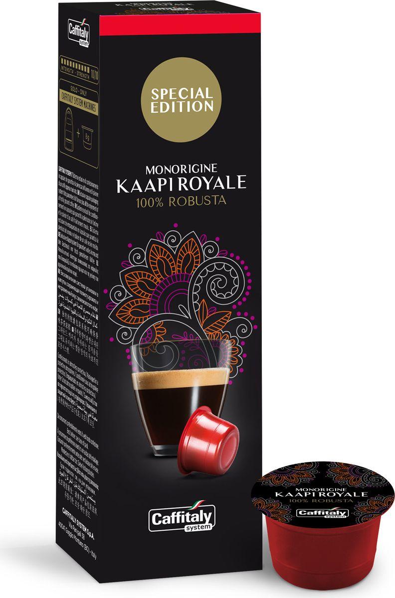 Caffitaly system India Kaapi Royale кофе в капсулах, 10 шт8032680750748Caffitaly капсулы India Kaapi Royale для приготовления эспрессо из 100 % Робусты с плоскогорья индийского штата Карнатака. Кофе отличается интенсивным ароматом и терпким вкусом с нотками шоколада и специй. Состав: 100% Робуста Интенсивность: 10/10 Количество: 10 капсул по 8 г. Регион: Индия Стандарт капсул: Caffitaly System / Paulig Cupsolo / Tchibo Cafissimo