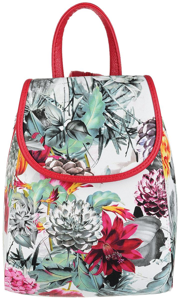 Рюкзак женский Медведково, цвет: белый, красный, мультиколор. 17с3387-к1417с3387-к14Компактный, но крайне вместительный рюкзак от бренда Медведково с жестким каркасом исполнен из высококачественной экокожи и оформлен цветочным принтом. Рюкзак имеет одно отделение на застежке-молнии, прикрытое клапаном на магнитной кнопке. Внутри отделения находится один прорезной карман на застежке-молнии. Рюкзак имеет удобную ручку для переноски и два регулируемых плечевых ремня-лямки, которые, при желании, можно превратить в одну, благодаря застежке-молнии между ними.