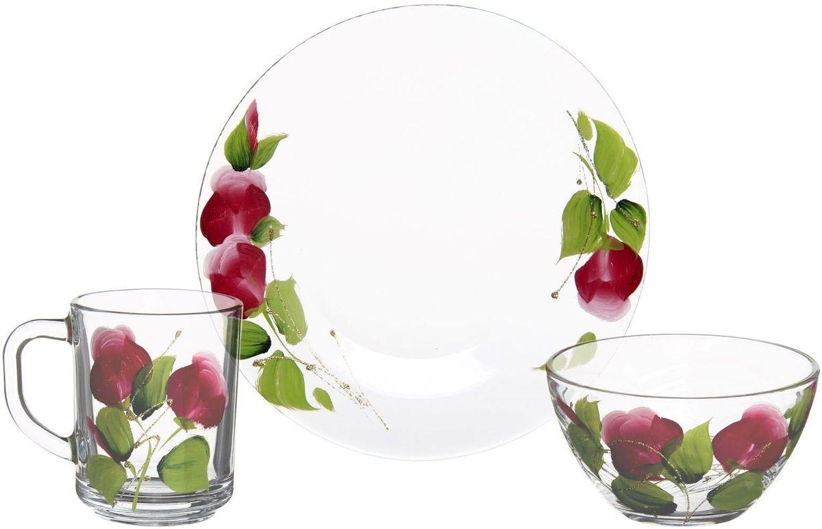 Набор для завтрака Хрустальный звон, 3 предмета. 11937251193725От хорошей кухонной утвари зависит половина успеха вкусного блюда. Чтобы еда была вкусной, важно ее правильно приготовить и сервировать. Набор для завтрака Яркие тюльпаны, 3 предмета: кружка 250 мл, салатник 250 мл, тарелка d=20 см поможет вам в этом деле. Вся посуда, представленная в каталоге, сделана из проверенных материалов, безопасна в использовании, будет долго радовать вас своим внешним видом и высоким качеством. Приобретайте изделия по действительно низким оптовым ценам с доставкой на дом.
