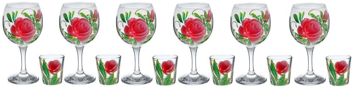 Набор Хрустальный звон: фужер для вина Бистро, 290 мл, 6 шт + стопка Ода, 50 мл, 6 шт. 11937631193763