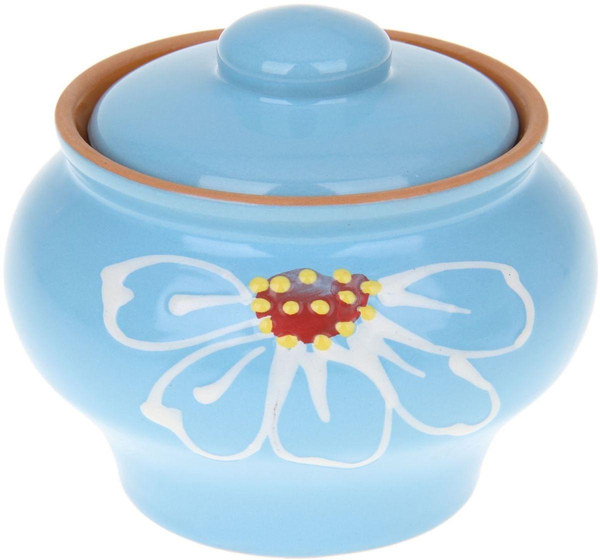 Горшок Псковский гончар Псковский, цвет: синий, 330 мл1228200