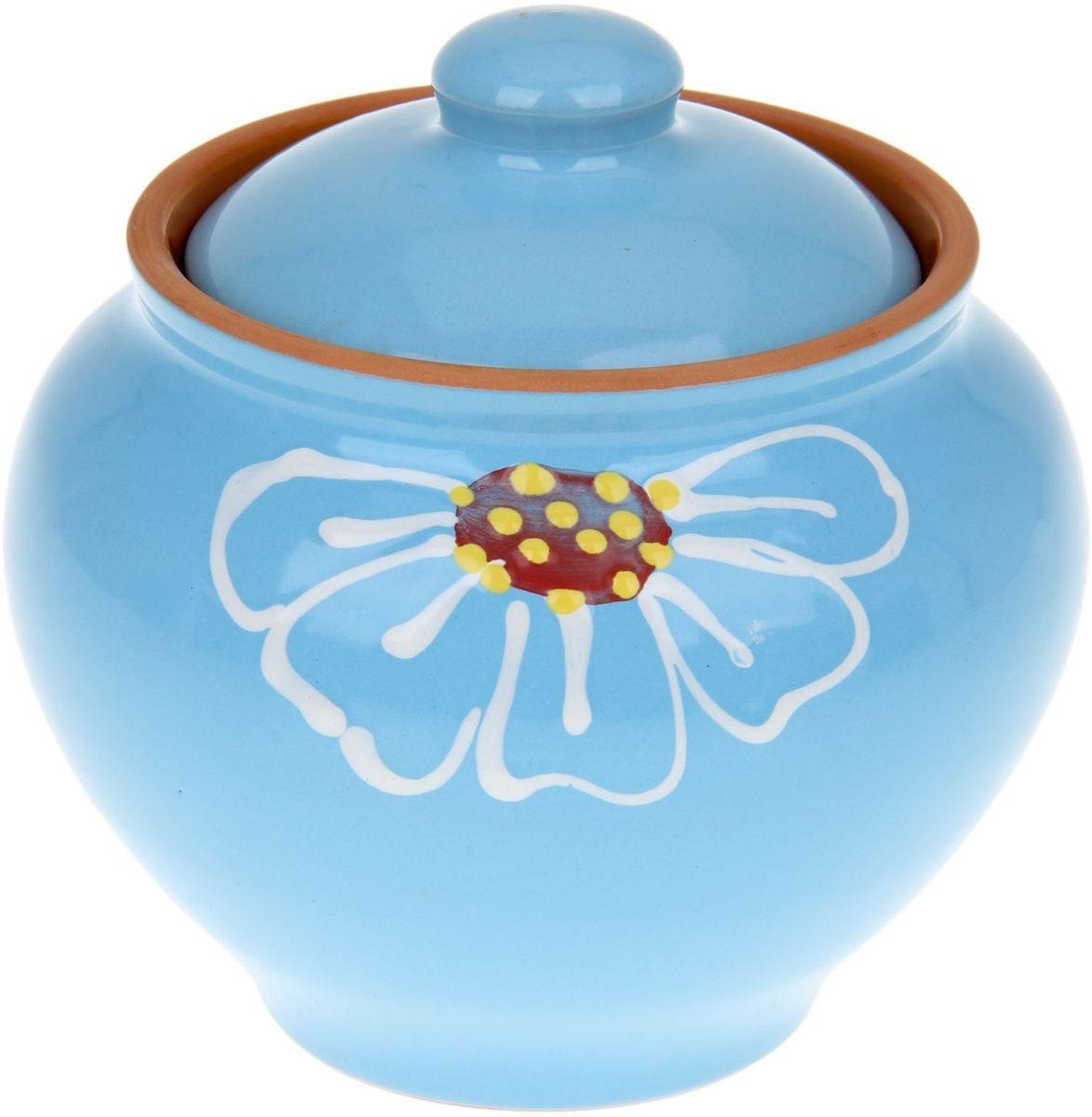 Горшок Псковский гончар Псковский, цвет: синий, 850 мл1228208
