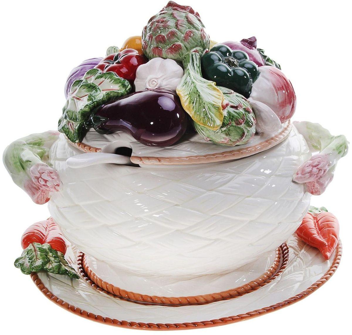 Супница на блюде Lamart Овощи, 4,5 л. 133178133178