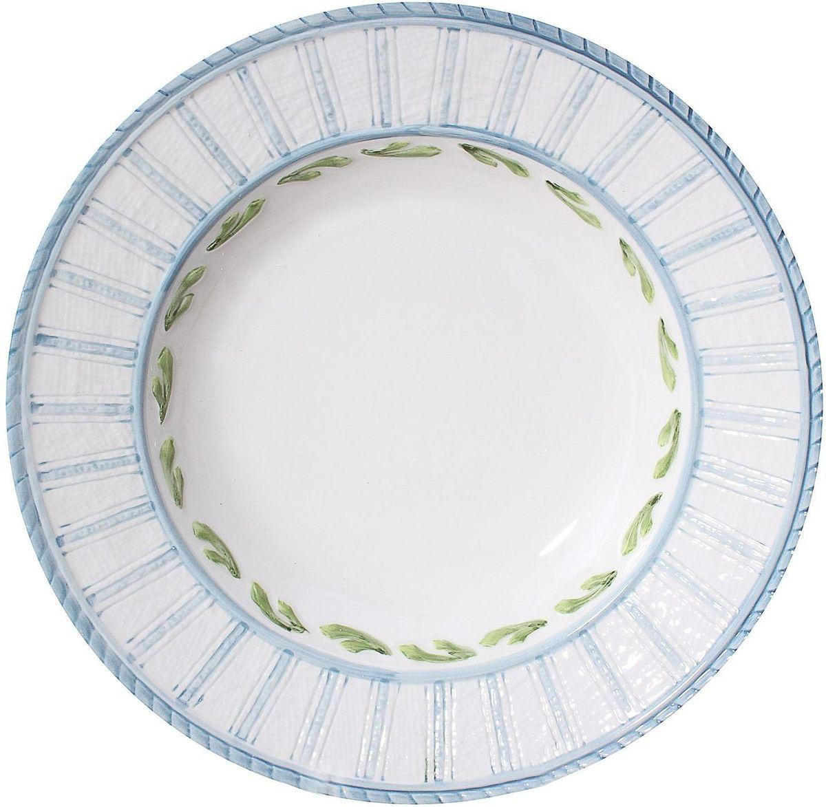 Тарелка суповая Lamart Морская жизнь, диаметр 25 см133244Любите качественные, а вместе с этим стильные и запоминающиеся вещи? Тогда вы наверняка оцените замечательную тарелку серии Морская жизнь известной итальянской марки Lamart. Светлая бело-голубая, глубокая, но словно совсем невесомая тарелка с нежно-зеленым орнаментом станет замечательным украшением стола, добавит ему радостного и солнечного настроения: не правда ли, кажется, что она буквально пропитана свежим морским бризом и средиземноморским солнцем? Такие тарелки будут прекрасным подарком хозяйке дома, знающей толк в изысканных и элегантных вещах.