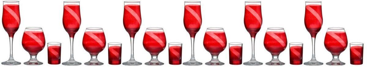 Набор бокалов и стопок Винт, цвет: красный, 18 предметов1364713