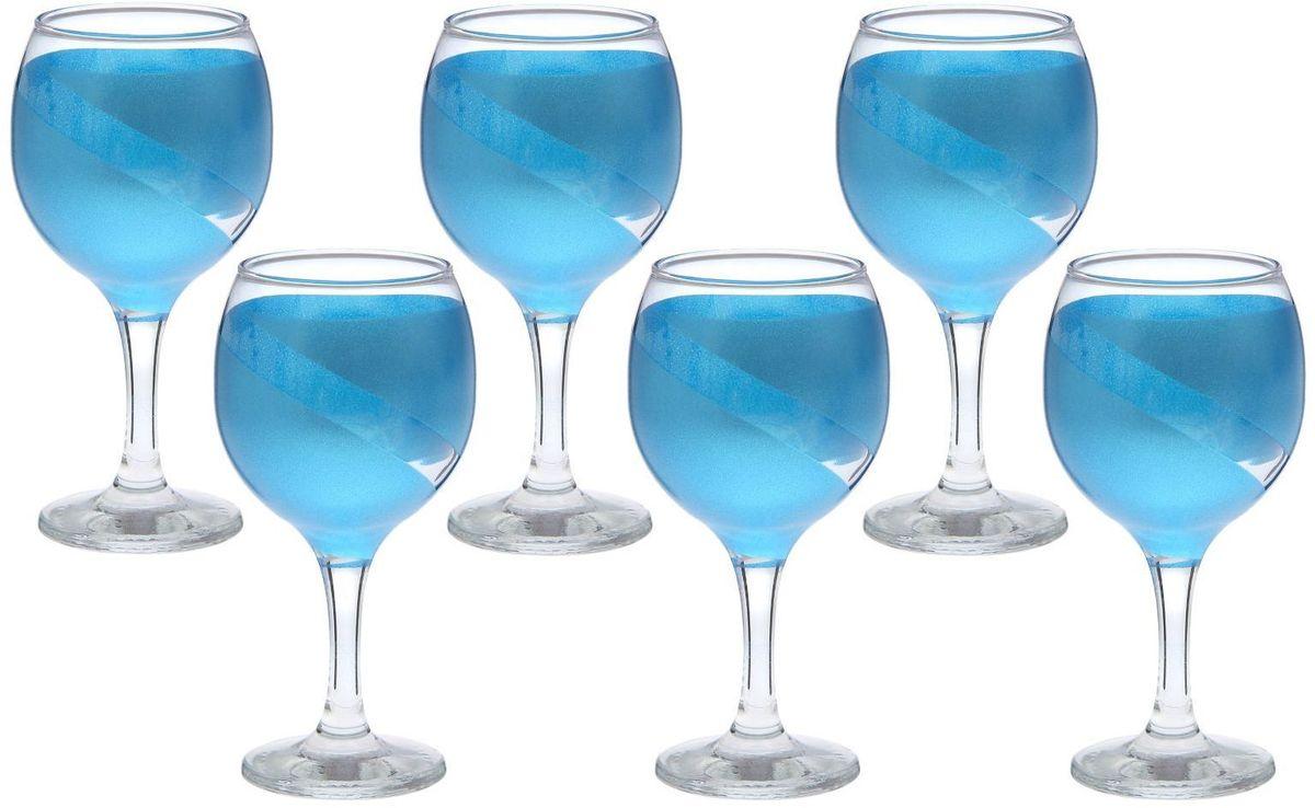 Набор фужеров для вина Хрустальный звон Бистро, цвет: синий, 290 мл, 6 шт2067789