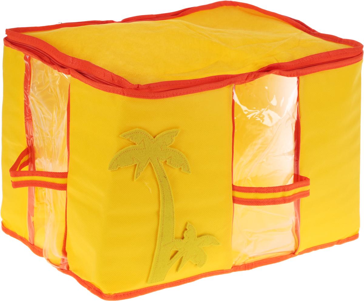 Кофр для хранения вещей детский Все на местах Sunny Jungle, цвет: желтый, оранжевый, 30 x 45 x 30 см1071007.Прямоугольный детский кофр Все на местах Sunny Jungle, изготовленный из высококачественного прочного нетканого материала (спанбонда и ПВХ), предназначен для долговременного хранения вещей. Кофр оснащен крышкой, тем самым обеспечивая надежное хранение вашей одежды. Кофр защитит ее от повреждений, пыли, влаги и загрязнений во время хранения и транспортировки. Он пропускает воздух и отталкивает воду. Мобильность конструкции обеспечивает складывание и раскладывание одним движением. Органайзер удобно складывается в чехол.