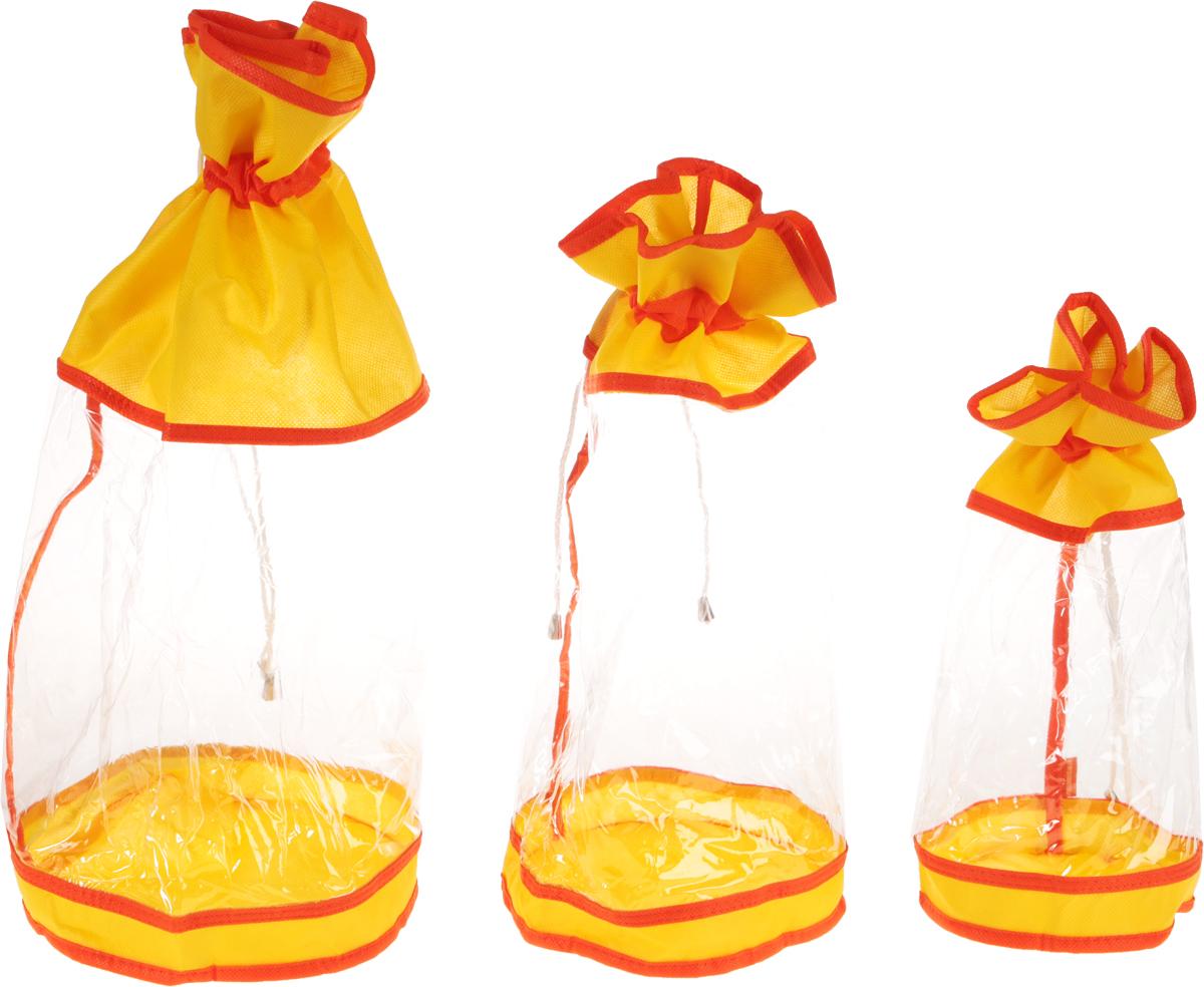 Набор мешочков Все на местах Sunny Jungle, детский, цвет: желтый, оранжевый, 3 шт1071023.Набор мешочков Все на местах Sunny Jungle выполнен из прочного ПВХ и дышащего материала, состоит из трех мешочков разных размеров: 60 см х 25 см, 50 см х 20 см, 40 см х 15 см. Мешочки затягиваются шнурком с фиксатором. Мелкие детские предметы одежды хранить теперь просто.
