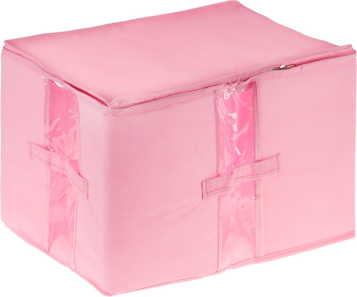 Кофр для вещей Все на местах Minimalistic, цвет: розовый, 30 х 45 х 30 см1014007.Кофр для вещей Все на местах Minimalistic изготовлен из сочетания спанбонда, изолона и ПВХ. Дышащая ткань позволяет вещам проветриваться, но препятствует проникновению пыли и насекомых С четырех сторон изделие снабжено прозрачными окошками, по бокам расположены ручки, в стенках - уплотнитель, который позволяет держать форму кофра. Уплотнитель не жесткий, что позволяет более компактно размещать несколько кофров на полке. Застегивается на застежку-молнию. Размеры: 30 х 45 х 30 см.