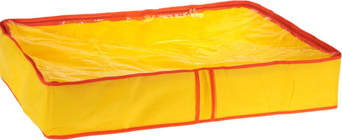Кофр для одеял Все на местах Sunny Jungle, цвет: желтый, оранжевый, 60 х 45 х 15 см1071022Кофр для одеял Все на местах Sunny Jungle изготовлен из сочетания спанбонда и ПВХ. Дышащая ткань позволяет вещам проветриваться, но препятствует проникновению пыли и насекомых. Крышка кофра прозрачна и позволяет видеть, что в нем хранится, не открывая ее. Удобные ручки по бокам кофра позволяют легко достать его из самых труднодоступных мест - с антресолей или из под кровати. В стенки чехла вставлен уплотнитель, что позволяет ему держать форму. Размеры: 60 х 45 х 15 см.