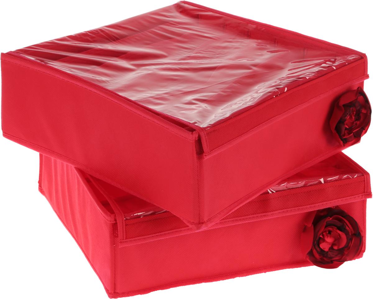 Набор органайзеров для белья Все на местах Классика, с крышкой, цвет: красный, 2 шт1005015.Набор состоит из двух органайзеров для хранения косметики и аксессуаров, а также белья. Изделия выполнены из высококачественного нетканого материала (спанбонда), который обеспечивает естественную вентиляцию, позволяя воздуху проникать внутрь, но не пропускает пыль. Вставки из ПВХ хорошо держат форму. Набор органайзеров поможет привести элементы женского туалета или белья в порядок. Оригинальный дизайн придется по вкусу ценительницам эстетичного хранения. Размер органайзеров: 32 см х 32 см х 11 см.