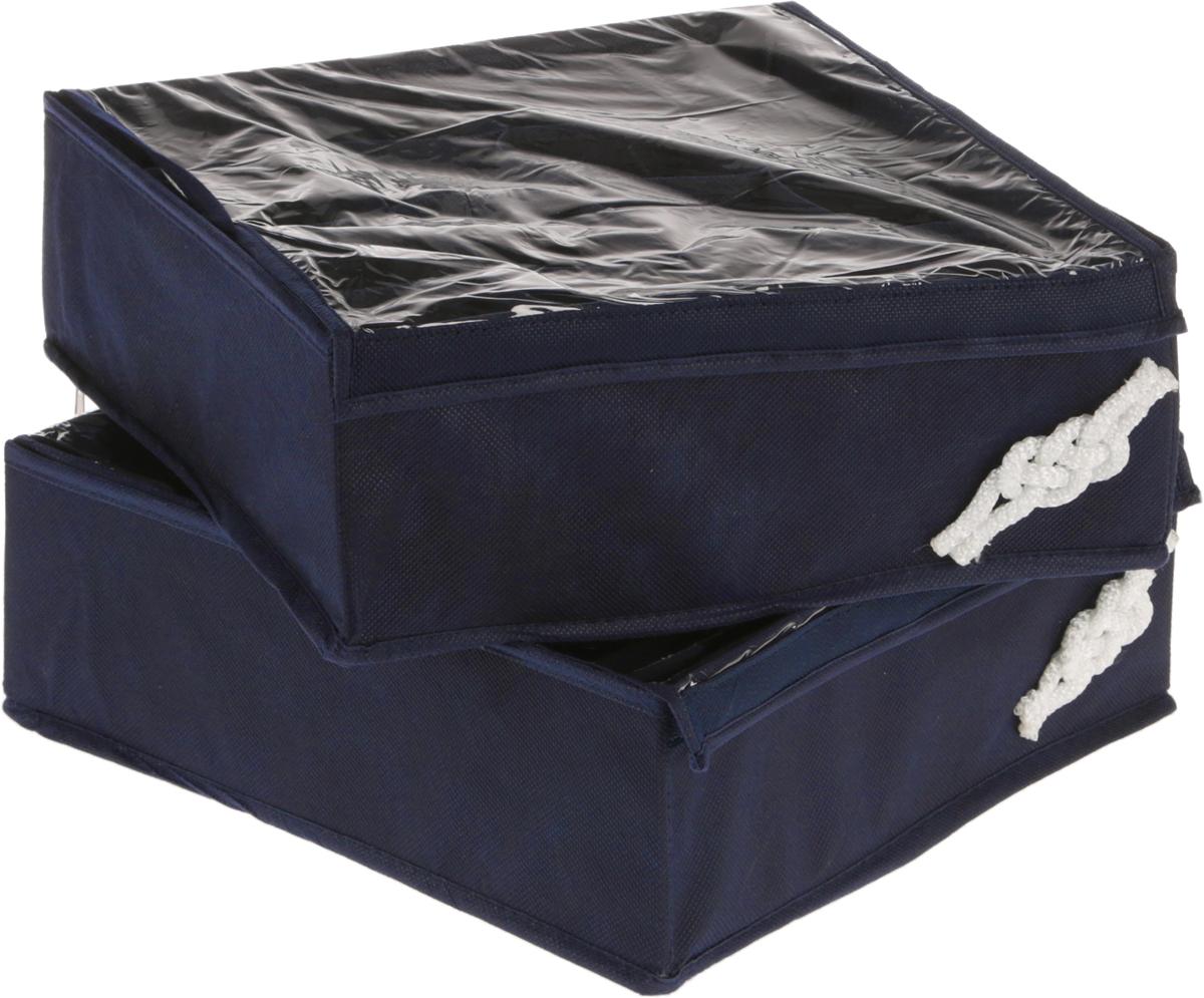 Набор органайзеров для мужского белья Все на местах Классика, цвет: темно-синий, 2 шт1004012.Набор состоит из двух органайзеров для хранения белья. Изделия выполнены из высококачественного нетканого материала (спанбонда), который обеспечивает естественную вентиляцию, позволяя воздуху проникать внутрь, но не пропускает пыль. Один органайзер служит для хранения 20 пар носков. Второй органайзер предназначен для хранения трусов или трикотажных водолазок и футболок. Внешние стенки органайзеров укреплены пластиком и отлично держат форму. Органайзеры декорированы морскими узлами ручной работы из белого шнура. В дно каждого органайзера вшита молния, их удобно складывать. Размеры: органайзер №1 - 32 х 32 х 11см, содержит 12 продольных ячеек 12 х 5,3 см; органайзер №2 - 32 х 32 х 11 см, содержит 16 квадратных ячеек размером 8 х 8 см.
