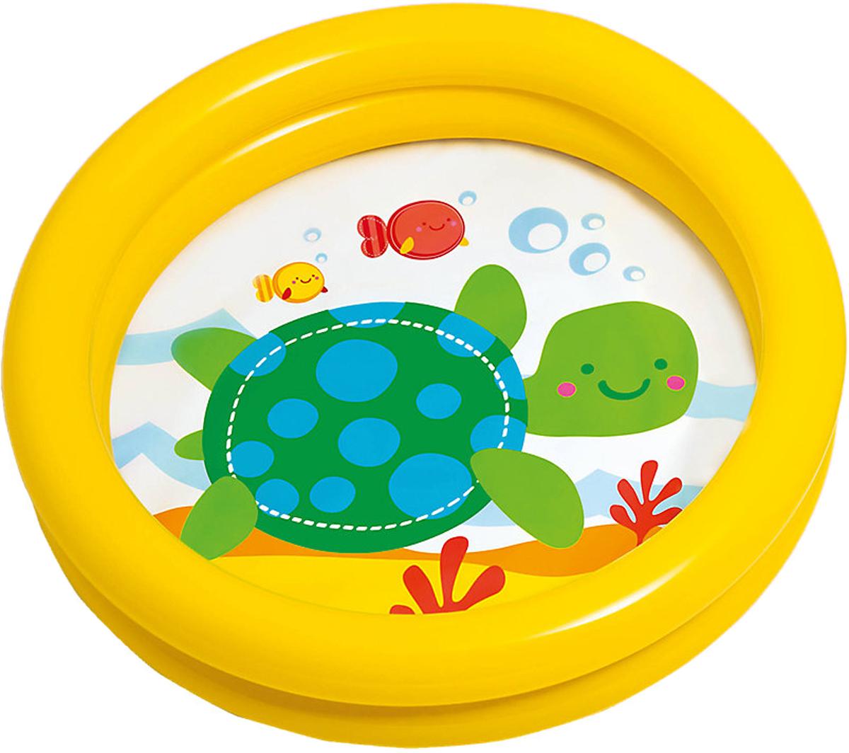 Надувной бассейн Intex Мини, цвет: желтый, 61 х 15 см, 1-3 годас59409_жёлтыйНадувной бассейн Intex Мини, цвет: желтый, 61 х 15 см, 1-3 года