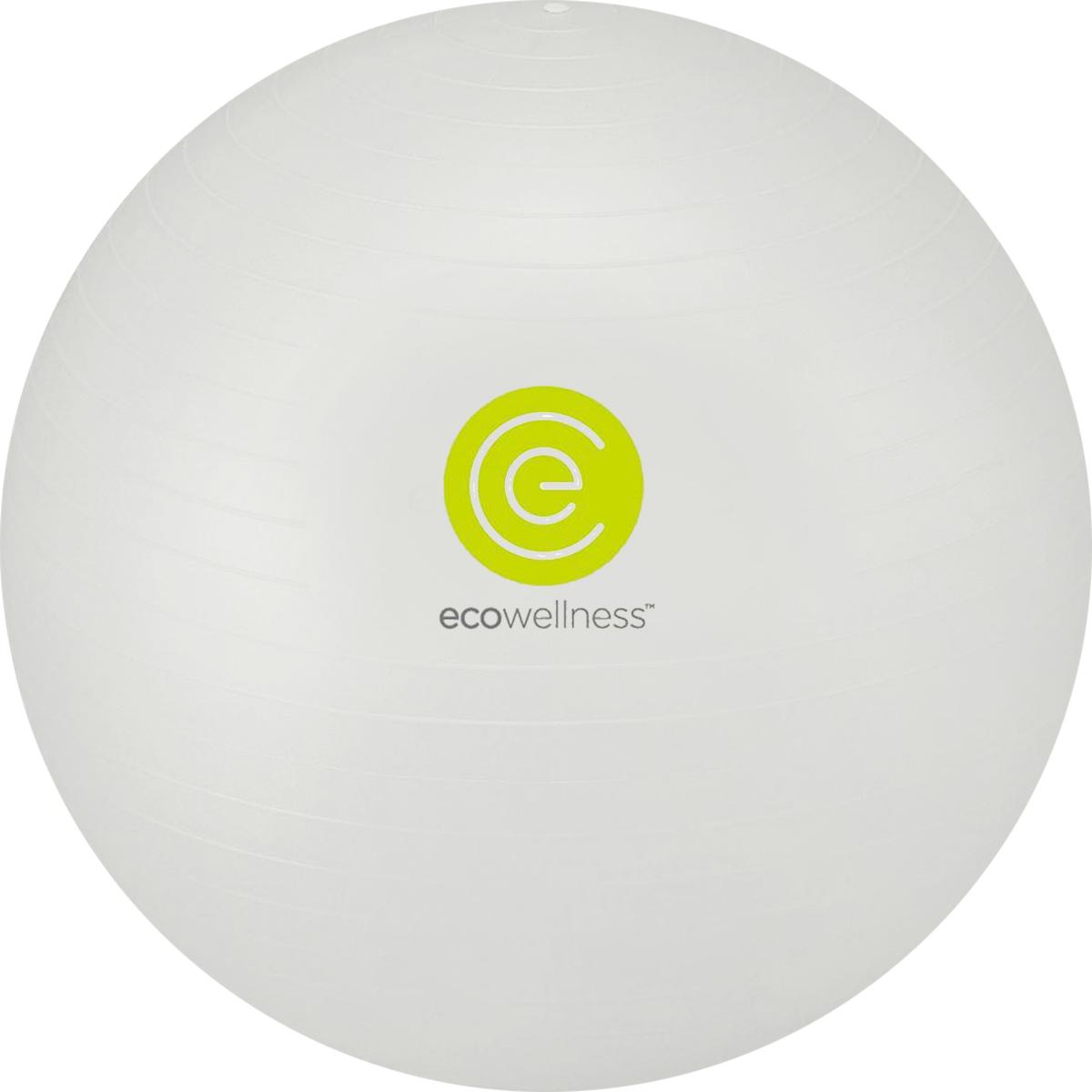 Мяч гимнастический Ecowellness, c ручным насосом, цвет: серый, диаметр 75 смQB-001TAG3-30D_серыйМяч гимнастический Ecowellness, c ручным насосом, цвет: серый, диаметр 75 см
