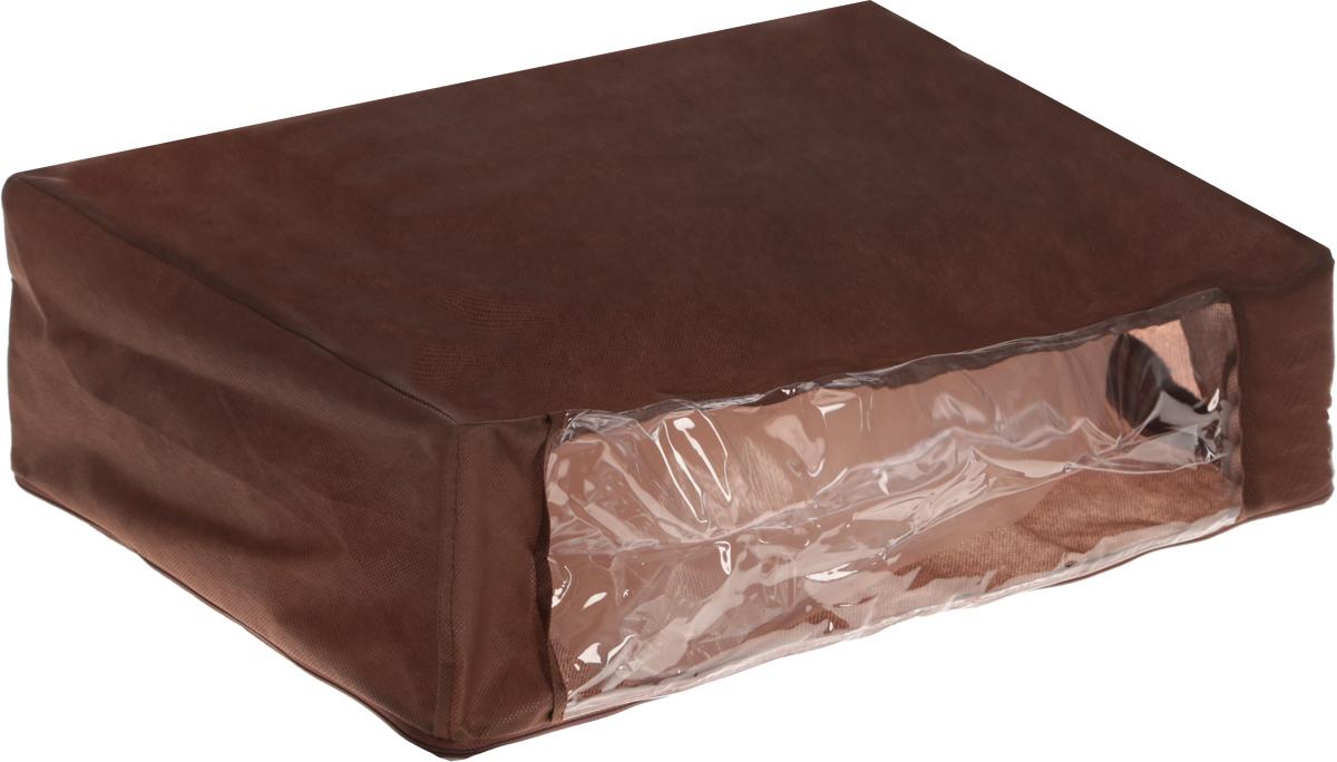 Чехол для хранения одеял Eva, цвет: коричневый, 60 х 40 х 20 смЕ52_коричневыйЧехол для хранения одеял Eva изготовлен из полипропилена и ПВХ. Нетканый материал чехла пропускает воздух, что позволяет изделиям дышать, сохраняет от пыли и грязи, обеспечивает удобную транспортировку, защищает от света и насекомых. Это особенно необходимо для изделий из натуральных материалов. Благодаря такому чехлу, вещи не впитывают посторонние запахи. Застегивается на застежку-молнию. Материал: ППР, ПВХ. Размер: 60 х 40 х 20 см.