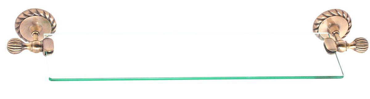 Полка для ванной Del Mare 11800, цвет: античная бронза, 60 см11807Стеклянная полка произведена из безопасного, прочного и стойкого к коррозии металлического сплава, с многослойным никель-хромовым покрытием, стойким к истиранию. Внутренние элементы крепления после монтажа остаются скрытыми, сохраняя аккуратный и эстетичный вид изделия. Стеклянная полка - это удобная настенная подставка для хранения различной косметики, средств для умывания, мыльниц и других аксессуаров, что позволит организовать порядок в ванной комнате.
