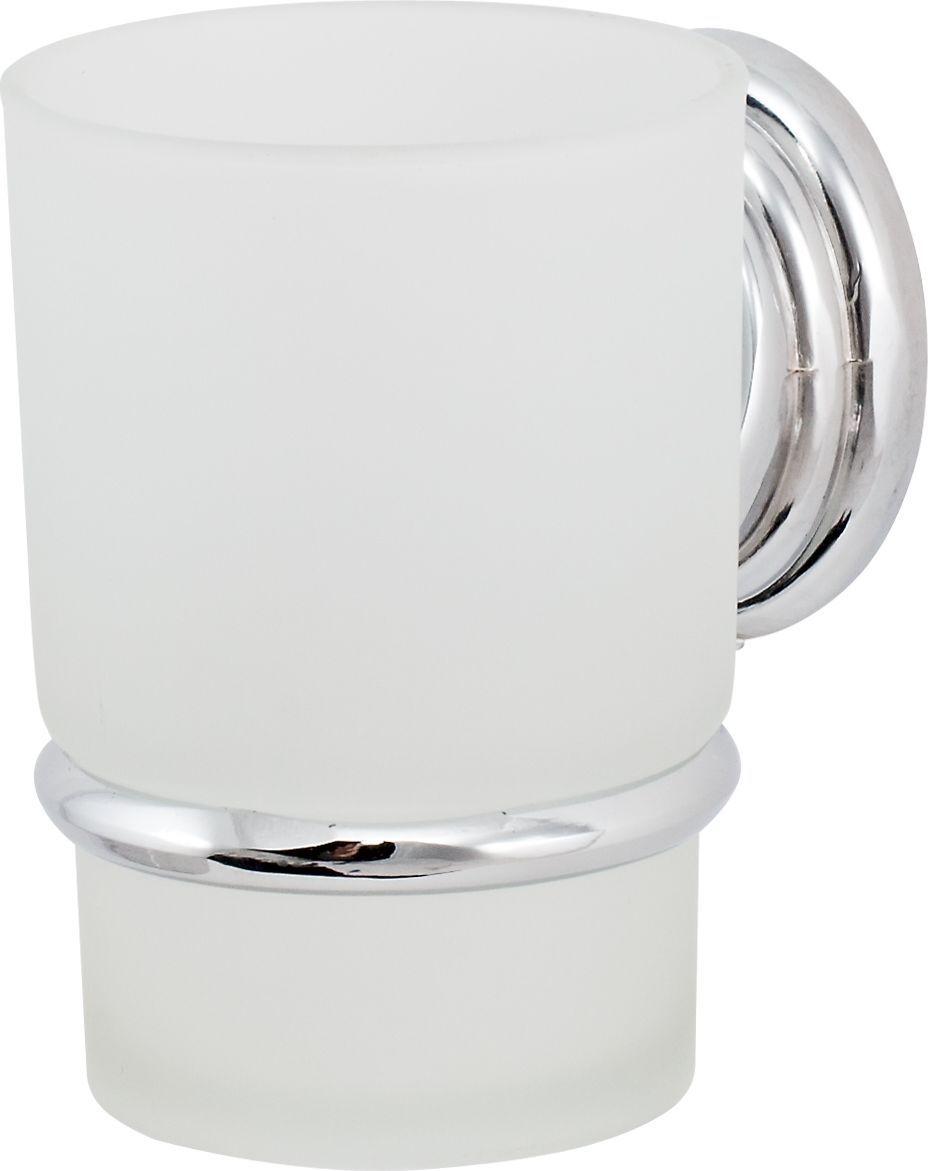 Держатель стакана Del Mare 3100, цвет: хром3103Держатель для зубных щеток и паст - это настенный стаканчик из матового стекла, укрепленный на металлическом каркасе. Крепление поставляется в комплекте. Стеклянный подвесной стакан с возможностью размещения зубных щеток и пасты позволит организовать порядок в ванной комнате.