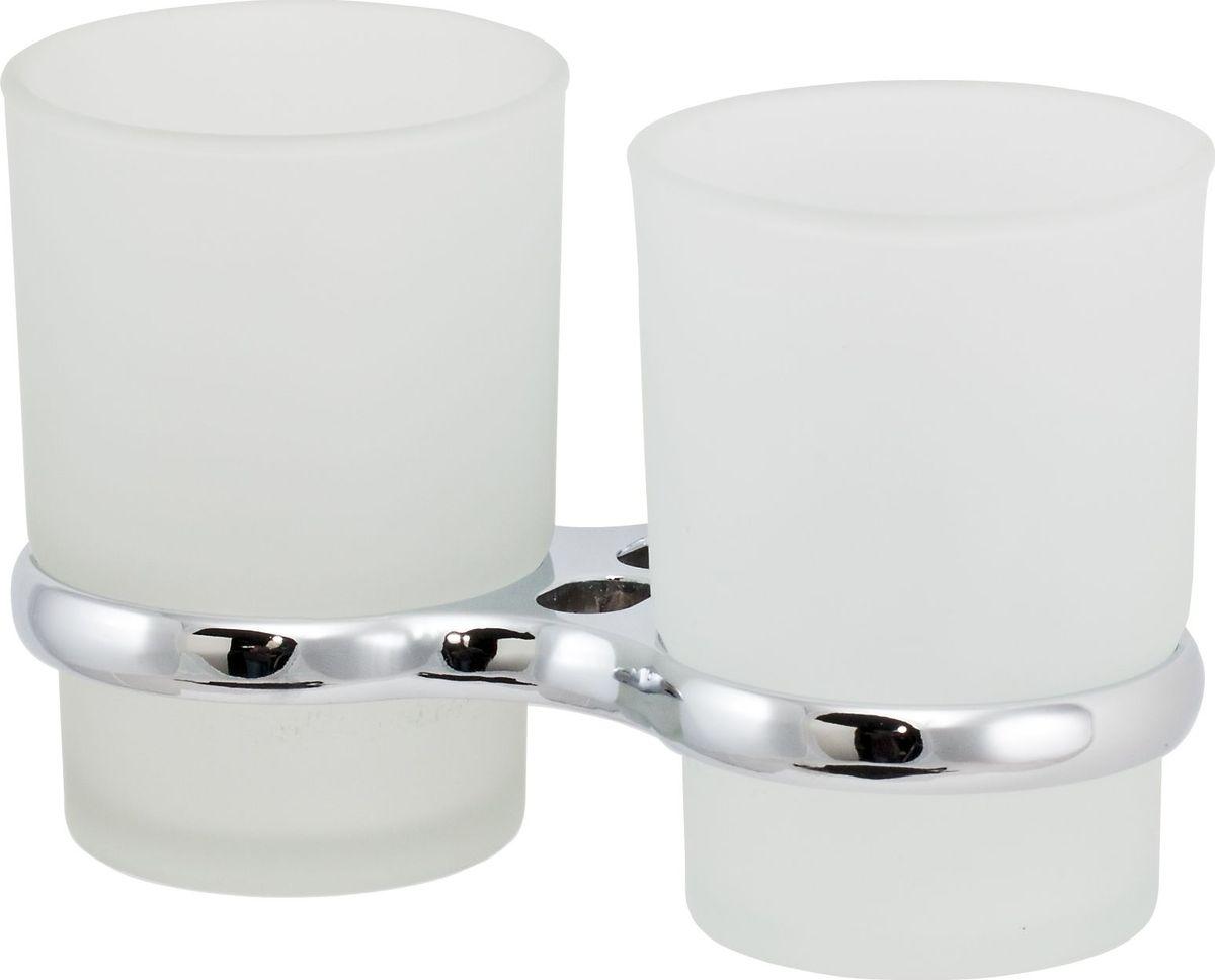 Держатель стакана Del Mare 3100, двойной, цвет: хром3111Держатель для зубных щеток и паст - это настенный стаканчик из матового стекла, укрепленный на металлическом каркасе. Крепление поставляется в комплекте. Стеклянный подвесной стакан с возможностью размещения зубных щеток и пасты позволит организовать порядок в ванной комнате.