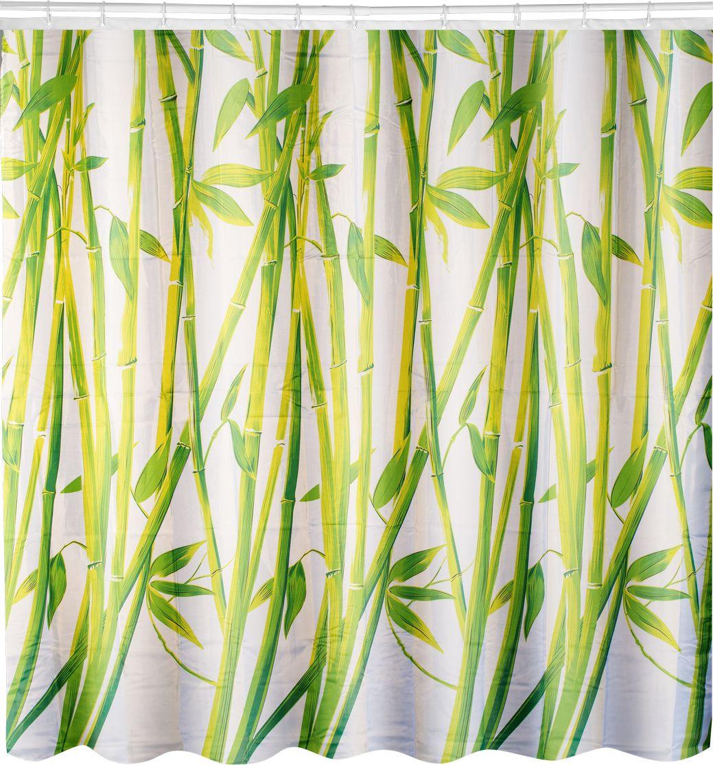 Штора для ванной Swensa Бамбук, цвет: зеленый, 180 х 180 смSWC-70-22Штора для ванной комнаты выполнена из высококачественного 100% полиэстера с водоотталкивающим и антигрибковым покрытием. В комплекте прилагаются 12 пластиковых колец. Такая штора прекрасно впишется в любой интерьер ванной комнаты и идеально защитит от брызг. Машинная стирка при температуре 40°С.