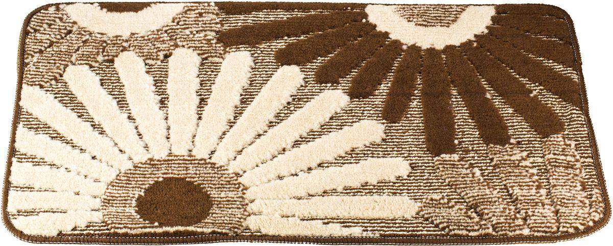 Коврик для ванной Swensa Fiori, цвет: коричневый, 50 х 80 смSWM-1016-BROWNПриятно после водных процедур стать босыми ногами не на холодный кафель, а на мягкую пушистую поверхность. А потому коврик – незаменимый атрибут в ванной комнате. Коврик Fiori с жизнерадостным рисунком в виде соцветий, выполнен в нейтральной природной цветовой гамме, изготовлен из полипропилена – материала, устойчивого к истиранию, долговечного и не боящегося влаги. Изделие быстро сохнет, допускается машинная стирка. Нескользящая подложка обезопасит владельцев от случайных падений.