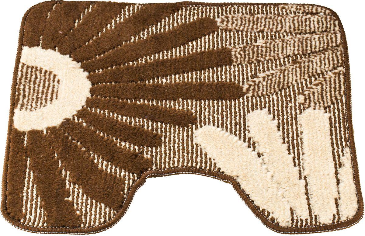 Коврик для туалета Swensa Fiori, цвет: коричневый, 50 х 50 смSWMT-1016-BROWNПриятно после водных процедур стать босыми ногами не на холодный кафель, а на мягкую пушистую поверхность. А потому коврик – незаменимый атрибут в ванной комнате. Коврик Fiori с жизнерадостным рисунком в виде соцветий, выполнен в нейтральной природной цветовой гамме, изготовлен из полипропилена – материала, устойчивого к истиранию, долговечного и не боящегося влаги. Изделие быстро сохнет, допускается машинная стирка. Нескользящая подложка обезопасит владельцев от случайных падений.