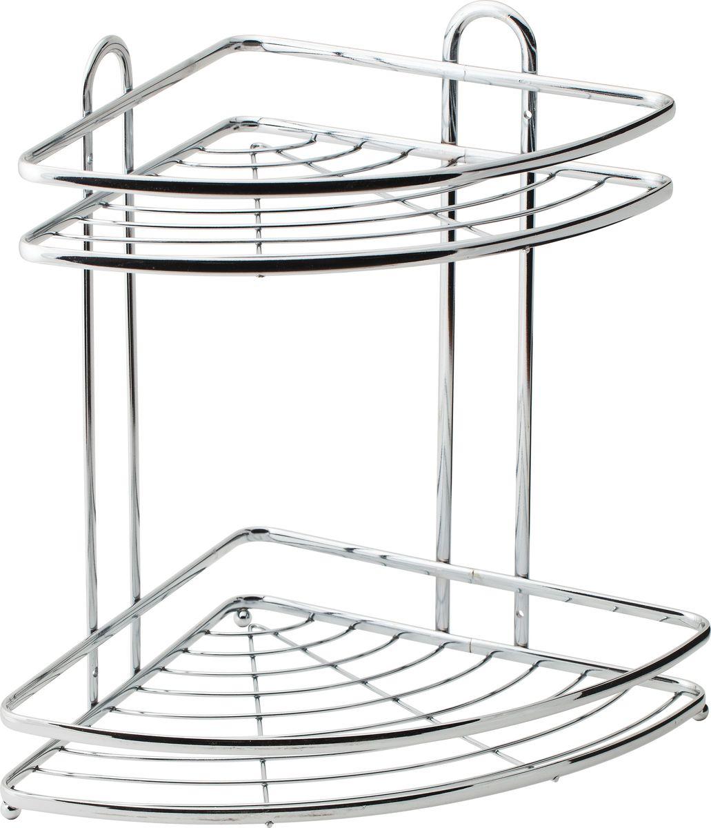 Полка для ванной Swensa, 2-ярусная, угловая, цвет: хром, 21 х 21 х 34 смSWR-012Угловая подвесная полка, выполненная из стали и покрытая хромо-никелиевым напылением, является прекрасным решением для организации пространсва в ванной комнате. Полка подвешивается с помощью саморезов, которые входят в комплект. Изделие состоит из 2-х полок, которые предназначены для хранения ваших средств гигиены и ухода. Благодаря оптимальным размерам, полка впишется в интерьер вашего дома, а также позволит удобно и практично хранить предметы домашнего обихода.