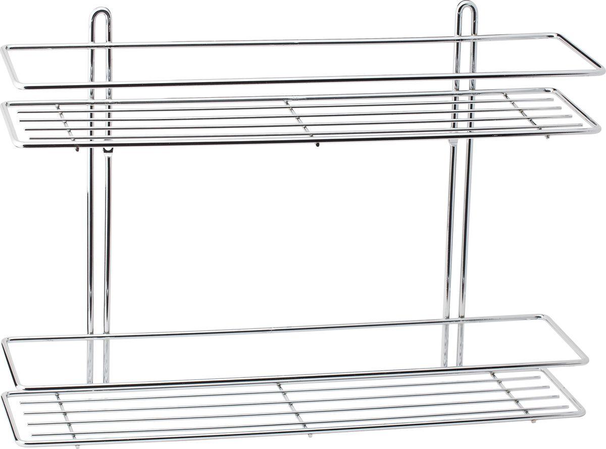 Полка для ванной Swensa, 2-ярусная, цвет: хромSWR-022Удобная и практичная прямая полка выполнена из хромированной стали. Она крепится при помощи двух шурупов с дюбелями (входят в комплект). Полка впишется в интерьер ванной комнаты и позволит вам удобно и практично хранить предметы домашнего обихода.