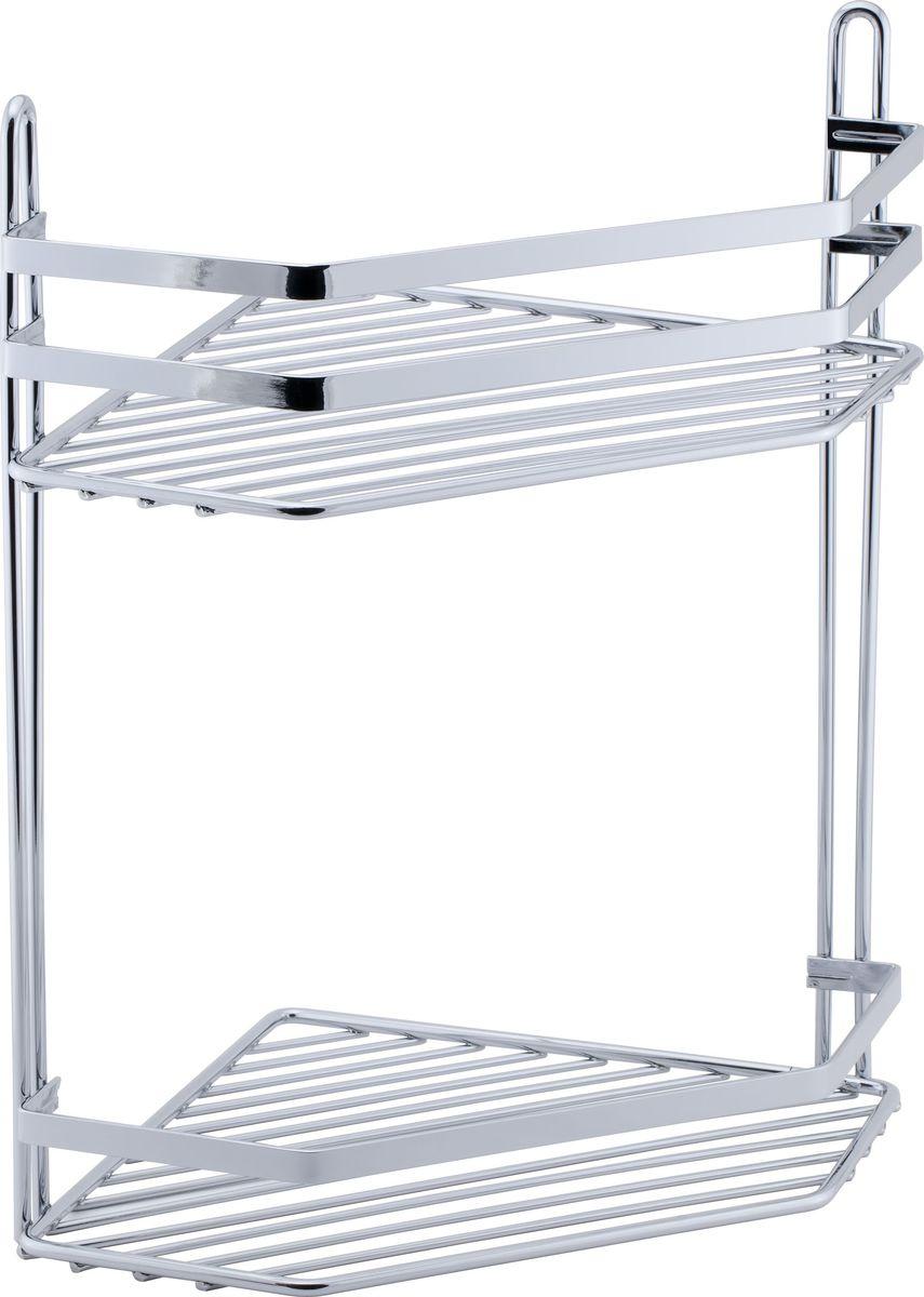 Полка для ванной Swensa Премиум, 2-ярусная с высоким бортом, угловая, цвет: хромSWR-042Подвесная двухярусная полка выполненная из стали и покрытая специальным хромо-никелиевым покрытием, сэкономит место в ванной комнате. Полка подвешивается с помощью 2-х саморезов (входят в комплект). Она пригодится для хранения различных принадлежностей, которые всегда будут под рукой. Благодаря компактным размерам полка впишется в интерьер вашего дома и позволит вам удобно и практично хранить предметы домашнего обихода.
