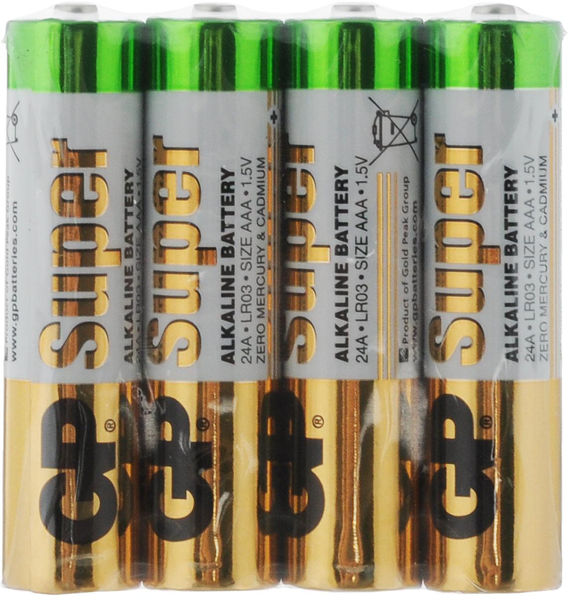 Набор алкалиновых батареек GP Super Alkaline, тип ААA (LR03), 1,5В, 4 шт2915_24ARS-2SB4Щелочные (алкалиновые) батарейки GP Super Alkaliner оптимально подходят для повседневного питания множества современных бытовых приборов: электронных игрушек, фонарей, беспроводной компьютерной периферии и многого другого. Не содержат кадмия и ртути. Батарейки созданы для устройств со средним и высоким потреблением энергии. Работают в 10 раз дольше, чем обычные солевые элементы питания. В комплект входят 4 батарейки. Размер батарейки: 1,4 х 4,3 см.