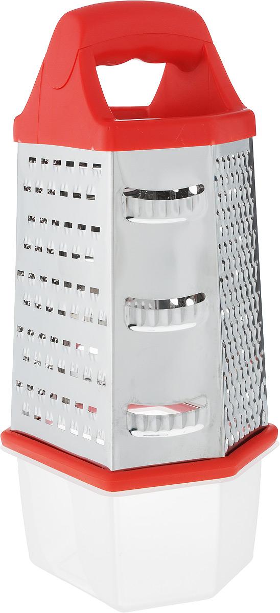 Терка Wellberg, шестигранная, с контейнером, высота 23 см9266 WB_красныйТерка Wellberg изготовлена из высококачественной стали с зеркальной полировкой. Терка оснащена удобной ручкой, выполненной из высококачественного пластика. На одной терке представлены шесть видов терок - крупная, мелкая, терка для овощных пюре, фигурная, шинковка и шинковка фигурная. Терка снабжена специальным контейнером, куда попадают уже натертые продукты. Для удобного хранения для контейнера предусмотрена крышка. Терку можно использовать и без контейнера, специальная резиновая накладка на дне обеспечивает устойчивость и предотвращает скольжение. Каждая хозяйка оценит все преимущества этой терки. Благодаря этому можно удовлетворить любые потребности по нарезке различных продуктов. Наслаждайтесь приготовлением пищи с многофункциональной теркой Wellberg. Размер терки: 14 х 12 х 23 см. Размер контейнера (с крышкой): 14 х 12,5 х 8 см. Высота терки (с учетом контейнера): 30 см.