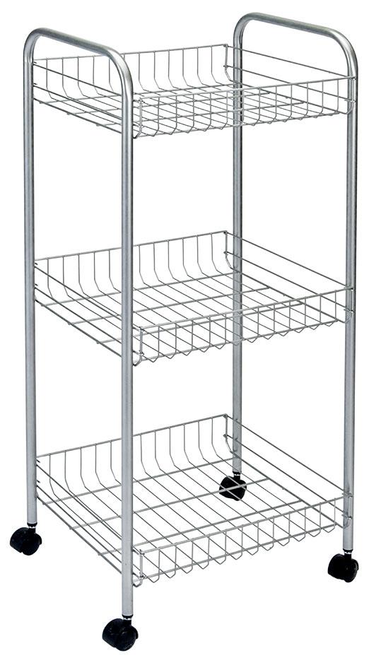 Этажерка 3-х уровневая Montreal, 34 x 34 x 85 см34.38.03Этажерка Montreal предназначена для использования в любых помещениях. Идеально подходит для использования на кухнях, ванных комнатах. Легко перемещается с помощью колесиков. Характеристики: Материал: сталь с поитермическим покрытием. Размер этажерки: 34 см х 34 см х 85 см. Размер полки: 31 см х 31 см х 7 см. Размер упаковки: 85 см х 31 см х 9 см.