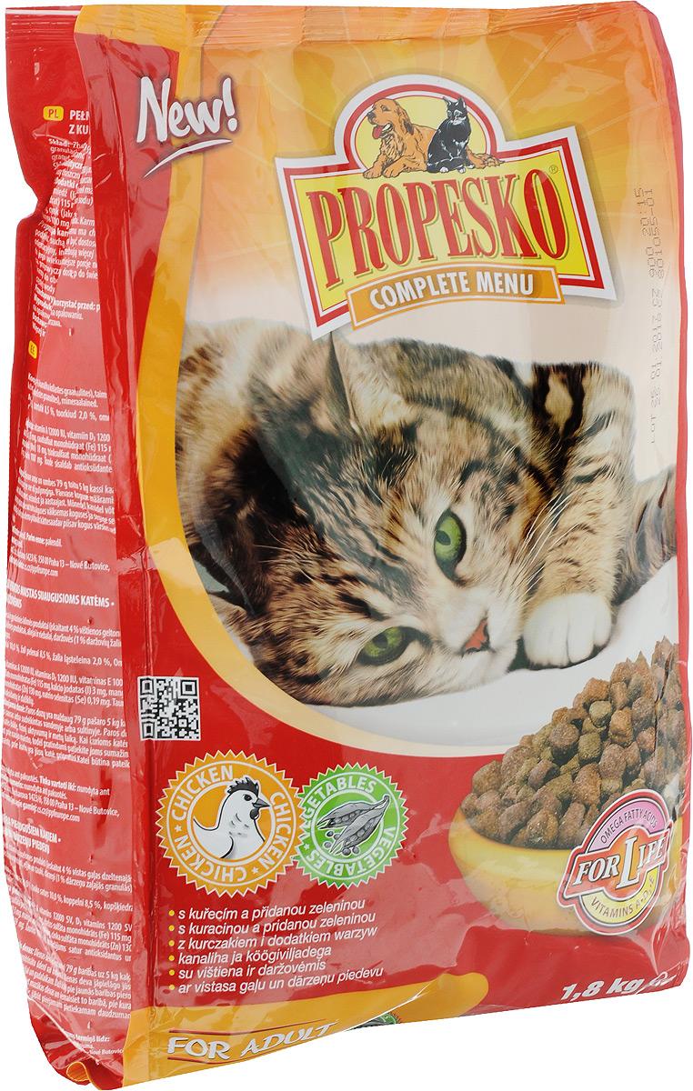 Корм сухой для кошек Propesko, с курицей и овощами, 1,8 кг14515Сухой корм для кошек Propesko с мясом курицы и овощами - полнорационное питание для кошек всех пород. Содержание белка обеспечивает достаточный запас энергии в течение дня, витамин А – хорошее зрение и витамин D3 помогает держать кости и зубы крепкими. Корм Propesko содержит три типа сухих гранул, которые сделаны из куриного мяса, обогащены овощами, а также другими полезными добавками для того, чтобы обеспечить кошке хорошее здоровье, пушистый мех, крепкие зубы и кости, острое зрение, максимальную усвояемость. Оптимальный состав, высококачественное сырье и хорошо усваиваемые компоненты обеспечивают кошку животным и растительным белком, животным жиром и растительными маслами. Корм обогащается минералами, микроэлементами и витаминами А, D3, E. Это гарантирует вашей кошке хорошее здоровье и отличную физическую форму. Товар сертифицирован.