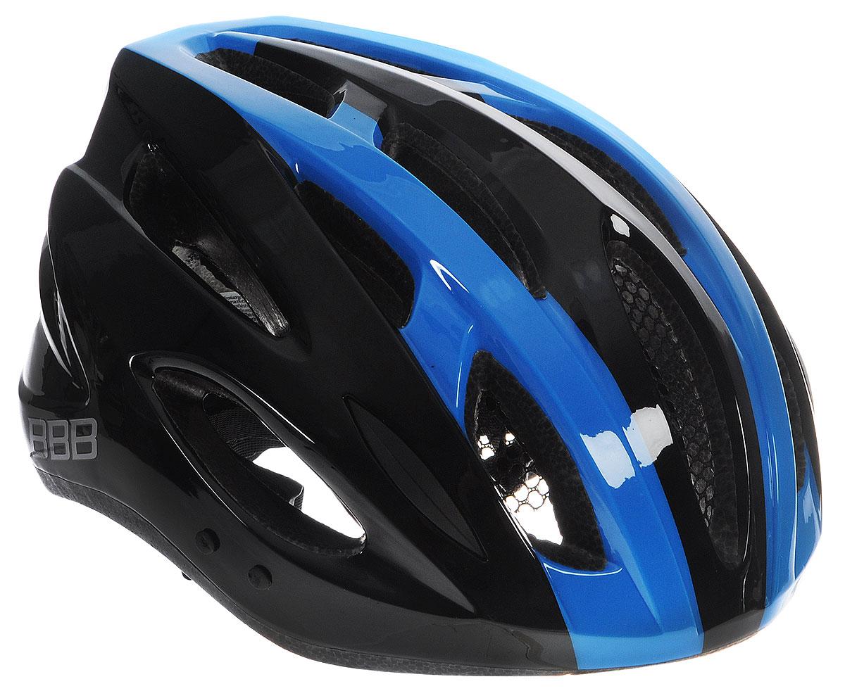 Шлем летний BBB Condor, со съемным козырьком, цвет: черный, синий. Размер MBHE-35Шлем BBB Condor, предназначенный для велосипедистов, скейтбордистов и роллеров, снабжен настраиваемыми ремешками для максимально комфортной посадки. Система TwistClose - позволяет настроить шлем одной рукой. Увеличенное количество вентиляционных отверстий гарантирует отличную циркуляцию воздуха на разных скоростях движения при сохранении жесткости, а отверстия для вентиляции в задней части шлема предназначены для оптимального распределения потока воздуха. Шлем оснащен съемными мягкими накладками с антибактериальными свойствами и съемным козырьком. Внутренняя часть изделия изготовлена из пенополистирола. Ее роль заключается в рассеивании энергии при ударе, а интегрированная конструкция защищает голову при ударе. Фронтальные отверстия изделия прикрыты мелкой сеткой для защиты от насекомых. Верхняя часть шлема, выполненная из прочного пластика, препятствует разрушению изделия, защищает шлем от прокола и позволять ему скользить при ударах. ...