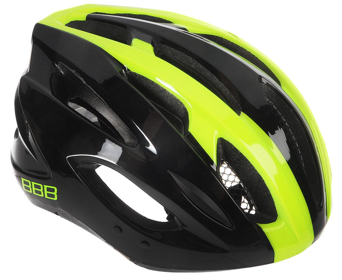 Шлем летний BBB Condor, со съемным козырьком, цвет: желтый неон. Размер LBHE-35Шлем BBB Condor, предназначенный для велосипедистов, скейтбордистов и роллеров, снабжен настраиваемыми ремешками для максимально комфортной посадки. Система TwistClose - позволяет настроить шлем одной рукой. Увеличенное количество вентиляционных отверстий гарантирует отличную циркуляцию воздуха на разных скоростях движения при сохранении жесткости, а отверстия для вентиляции в задней части шлема предназначены для оптимального распределения потока воздуха. Шлем оснащен съемными мягкими накладками с антибактериальными свойствами и съемным козырьком. Внутренняя часть изделия изготовлена из пенополистирола. Ее роль заключается в рассеивании энергии при ударе, а интегрированная конструкция защищает голову при ударе. Фронтальные отверстия изделия прикрыты мелкой сеткой для защиты от насекомых. Верхняя часть шлема, выполненная из прочного пластика, препятствует разрушению изделия, защищает шлем от прокола и позволять ему скользить при ударах. ...