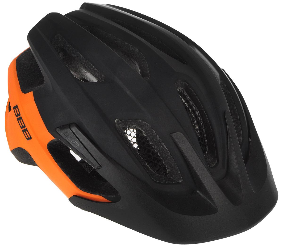 Шлем летний BBB Kite, со съмным козырьком, цвет: черный, оранжевый. Размер MBHE-29Шлем BBB Kite, предназначенный для велосипедистов, скейтбордистов и роллеров, снабжен настраиваемыми ремешками для максимально комфортной посадки. Система TwistClose - позволяет настроить шлем одной рукой. Увеличенное количество вентиляционных отверстий гарантирует отличную циркуляцию воздуха на разных скоростях движения при сохранении жесткости, а отверстия для вентиляции в задней части шлема предназначены для оптимального распределения потока воздуха. Шлем оснащен съемными мягкими накладками с антибактериальными свойствами и съемным козырьком. Внутренняя часть изделия изготовлена из пенополистирола. Ее роль заключается в рассеивании энергии при ударе, а низкопрофильная конструкция обеспечивает дополнительную защиту наиболее уязвимых участков головы. Фронтальные отверстия изделия прикрыты мелкой сеткой для защиты от насекомых. Верхняя часть шлема, выполненная из прочного пластика, препятствует разрушению изделия, защищает его от прокола и ...