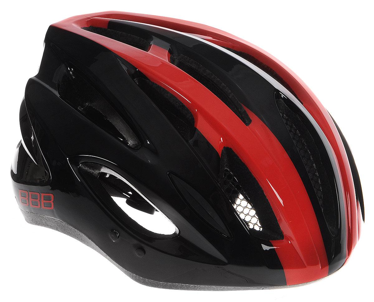 Шлем летний BBB Condor, цвет: черный, красный. Размер LBHE-35Если вы не понаслышке знакомы с разнообразными насекомыми, залетающими в вентиляционные отверстия шлема летом - вам может очень пригодиться Condor. Фронтальные отверстия прикрыты мелкой сеткой для защиты от непрошенных гостей. Кроме того, у Condor всего суммарно 18 отверстий для вентиляции и интегрированная конструкция для максимальной защиты в случае падений. Съёмный козырёк делает этот шлем одинаково хорошо подходящим как для шоссе, так и для маунтинбайка. Интегрированная конструкция. 18 вентиляционных отверстий. Отверстия для вентиляции в задней части шлема для оптимального распределения потоков воздуха. Защитная сетка от насекомых в вентиляционных отверстиях. Настраиваемые ремешки для максимально комфортной посадки. Простая в использовании система настройки TwistClose, можно настроить шлем одной рукой. Съемные мягкие накладки с антибактериальными свойствами и возможностью стирки. Светоотражающие наклейки на задней части шлема. ...