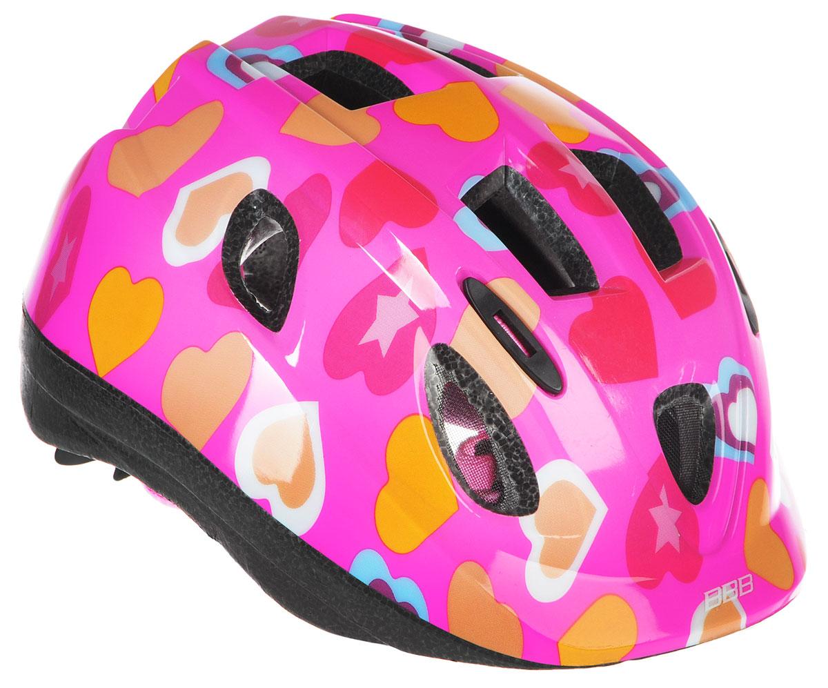 Шлем летний BBB Boogy. Сердечки, цвет: фуксия, красный, оранжевый. Размер SBHE-37Детский шлем BBB Boogy. Сердечки предназначен для велосипедистов, скейтбордистов и роллеров. Изделие снабжено настраиваемыми ремешки для максимально комфортной посадки. Система TwistClose - позволяет настроить шлем одной рукой. Увеличенное количество вентиляционных отверстий гарантирует отличную циркуляцию воздуха на разных скоростях движения при сохранении жесткости. Шлем оснащен съемными мягкими накладками с антибактериальными свойствами. Внутренняя часть изделия изготовлена из пенополистирола. Ее роль заключается в рассеивании энергии при ударе, что защищает голову. Верхняя часть шлема, выполненная из прочного пластика, препятствует разрушению изделия, защищает шлем от прокола и позволять ему скользить при ударах. Способность шлема скользить по поверхности является важной его характеристикой, так как при падении движение уменьшается не сразу, а постепенно, снижая тем самым нагрузку на голову и шею. Надежный шлем с ярким...