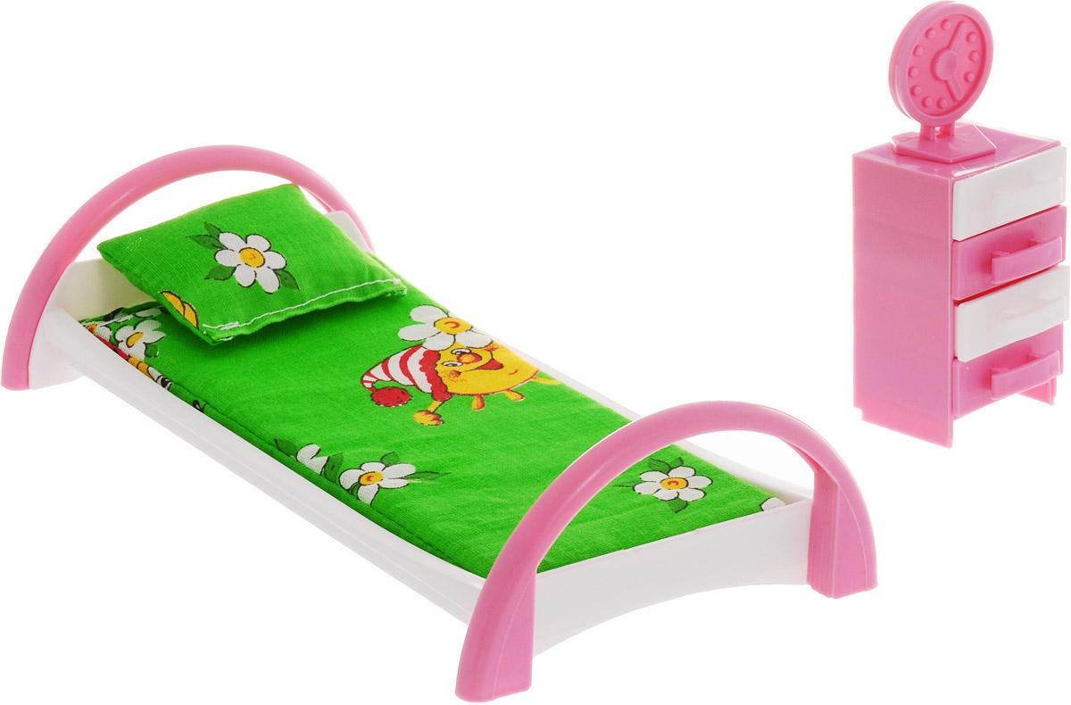 Форма Набор мебели для кукол Кровать с тумбочкой Солнце цвет зеленый