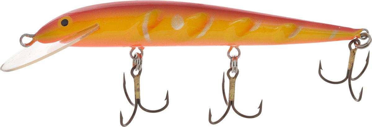 Воблер Blind Paroni, цвет: красный, желтый, длина 13 см, вес 17 гPAR-13011Воблер Blind Paroni применяется для ловли хищных видов рыб. Воблер изготовлен из качественного пластика и отличается яркой расцветкой. Три тройника не дадут ускользнуть самой верткой рыбе.