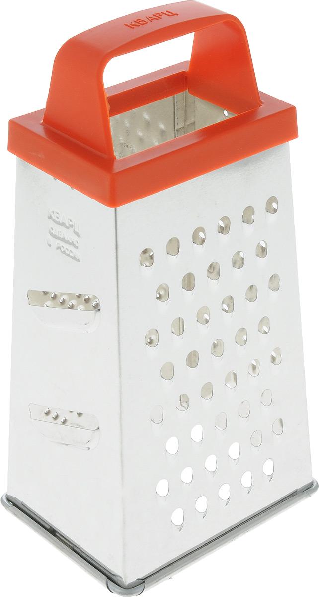 Терка Кварц, четырехгранная, цвет: стальной, морковный, высота 21 см. К01.000.03К01.000.03_ручка оранжеваяЧетырехгранная терка Кварц, выполненная из высококачественной жести, станет незаменимым атрибутом приготовления пищи. На одном изделии представлены четыре вида терок - крупная, средняя, мелкая и нарезка ломтиками. Терка оснащена эргономичной пластиковой ручкой. Терка Кварц станет достойным дополнением к вашему кухонному инвентарю. Высота терки: 21 см. Размер основания терки: 11 х 8,5 см.