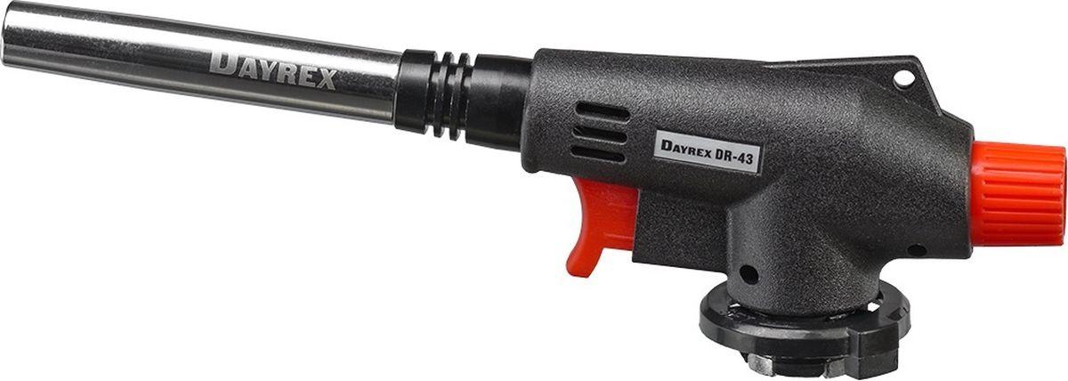 Горелка газовая FOCUSray Dayrex-43 1/10/50DAYREX-43Универсальная газовая горелка. Электронное воспламенение. Температура открытого пламени — 1300°С. Длина открытого пламени — 198 мм. Расход газа - 1,72 г./мин.