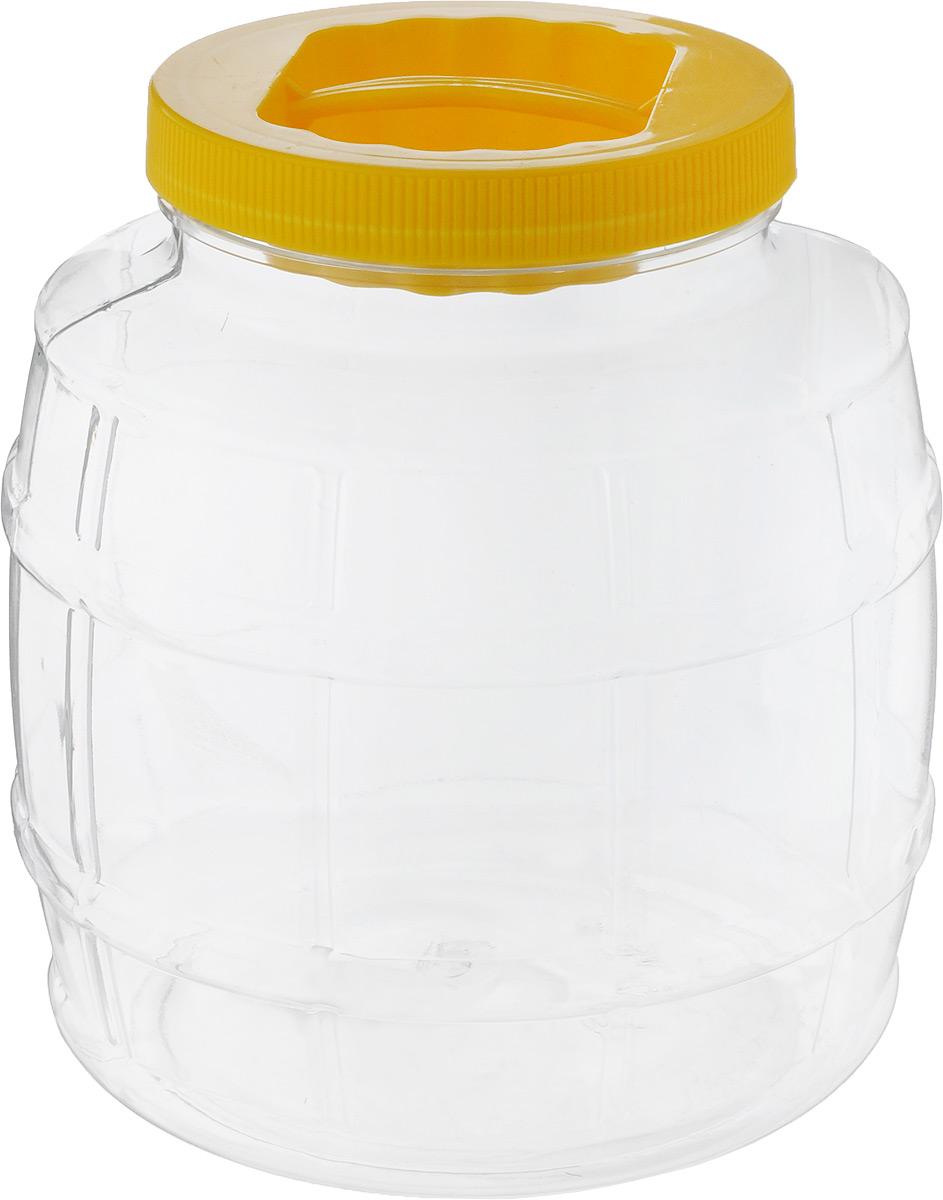Емкость для сыпучих продуктов Бочонок, цвет: желтый, прозрачный, 3 лМ677_желтый, прозрачныйЕмкость Альтернатива Бочонок изготовлена из качественного пластика и оснащена пластиковой закручивающейся крышкой. Изделие выполнено в форме бочонка с прозрачными стенками, что позволяет видеть содержимое. В такой удобной емкости можно хранить макароны, крупы, сахар, соль и многое другое. Крышка дополнена небольшой пластиковой ручкой. Высота емкости (с учетом крышки): 18,5 см. Диаметр емкости (по верхнему краю): 10 см. Диаметр дна: 15 см.