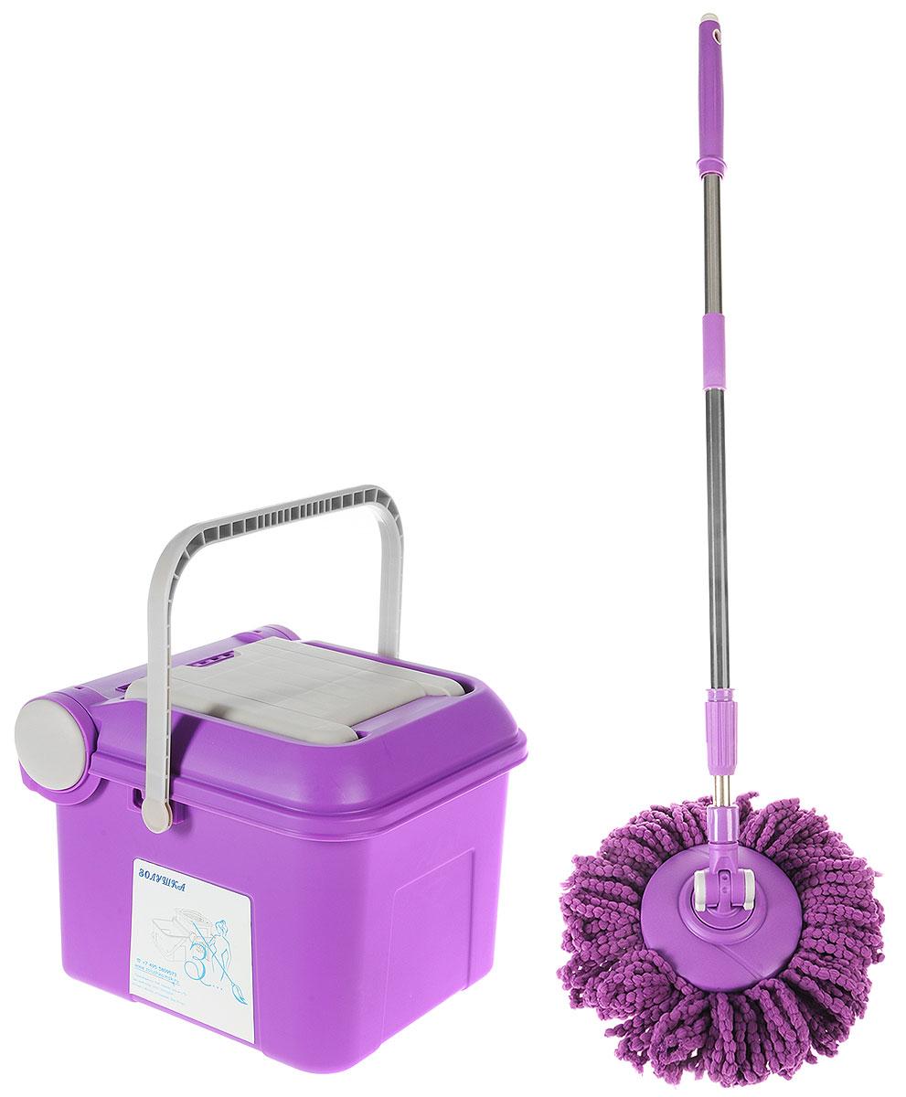 Швабра Золушка, с механическим отжимом и полосканием, цвет: фиолетовый. FM-V7FM-V7Чудо-швабра - это устройство для мытья полов, которое позволяет производить отжим и полоскание без лишних усилий! Чудо-швабра FM-V7 Золушка - наш хит продаж на протяжении многих месяцев, это самая эргономичная чудо-швабра с вращением на 360 градусов и ведро с встроенным механизмом отжима. Комплект состоит из складного ведра и швабры с телескопической ручкой. Ручка швабры не только регулируется по длине, но позволяет полоскать или отжимать тряпку легкими движениями одной руки. Механизм швабры приводится в движение посредством нажатия на ее ручку рукой. Насадка на швабре при этом приходит во вращение. В зависимости от того, где находится насадка (в ведре с водой или в отжимной корзине) насадка полоскается, либо отжимается. Отжимная корзина встроена в крышку ведра и в разложенном виде имеет надежную подставку. В сложенном виде комплект очень компактен. Его можно хранить в любом удобном для вас месте. Эргономичное, удобное ведро FM-V7 выполнено из качественного пластика, детали швабры...