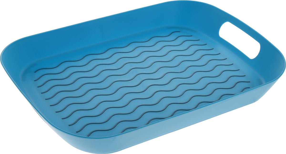 Поднос Zeller, цвет: бирюзовый, серый, 44,5 х 29,5 х 5 см26679Оригинальный поднос Zeller, изготовленный из прочного пищевого пластика, станет незаменимым предметом для сервировки стола. Изделие снабжено специальными прорезиненными вставками, которые предотвращают скольжение посуды. Основание подноса также имеет резиновые вставки. Для удобства переноски предусмотрены удобные ручки и высокие бортики. Такой поднос станет полезным и практичным приобретением для вашей кухни.