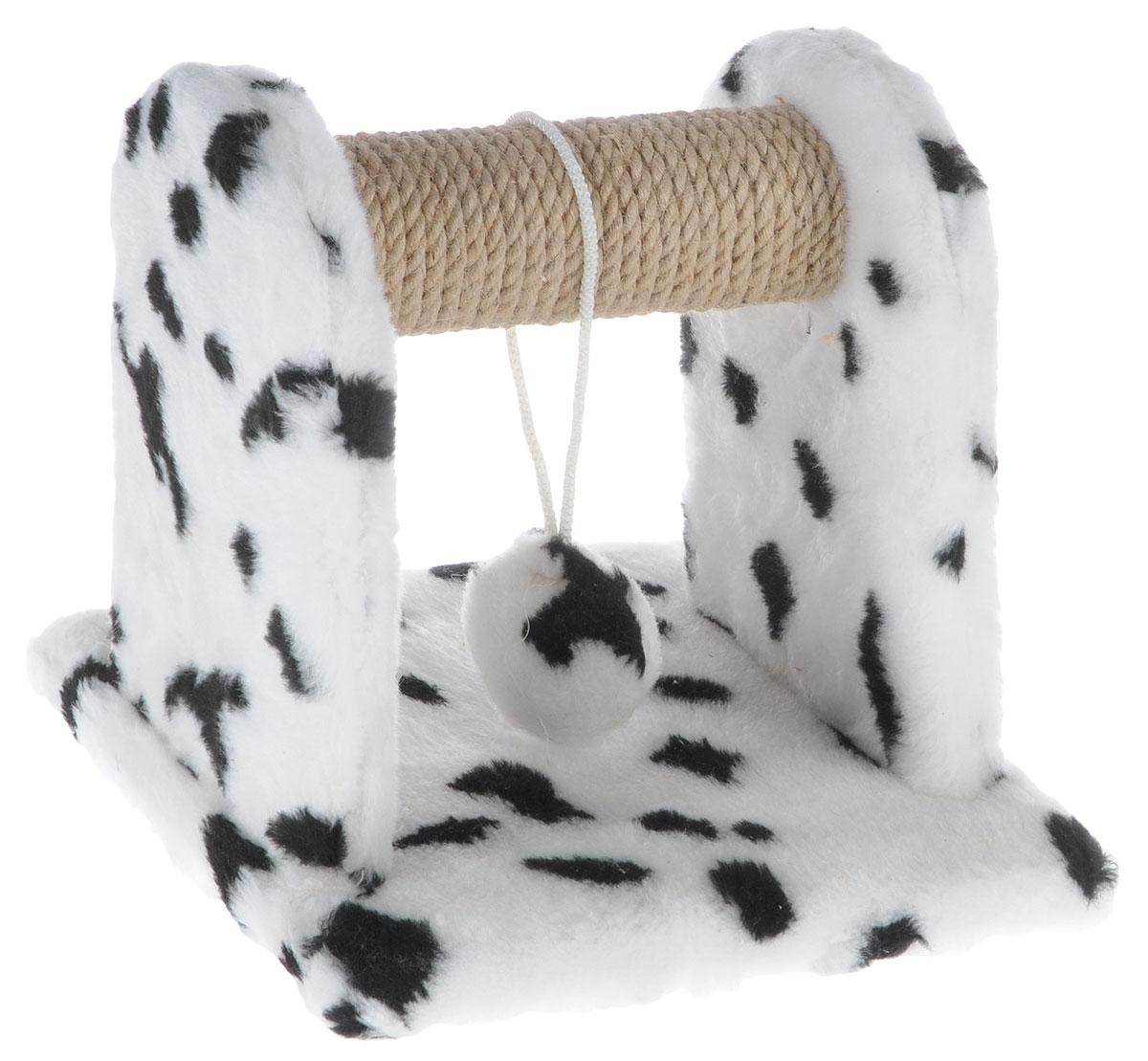 Когтеточка для котят Меридиан Далматин, с игрушкой, 26 х 26 х 26 смК701ДКогтеточка Меридиан Далматин предназначена для стачивания когтей вашего котенка. Изделие выполнено из ДВП и ДСП, обтянуто искусственным мехом с принтом под далматинца. Круглая планка изготовлена из джута. Изделие снабжено подвесной игрушкой. Такая когтеточка позволит сохранить неповрежденными мебель и другие предметы интерьера.