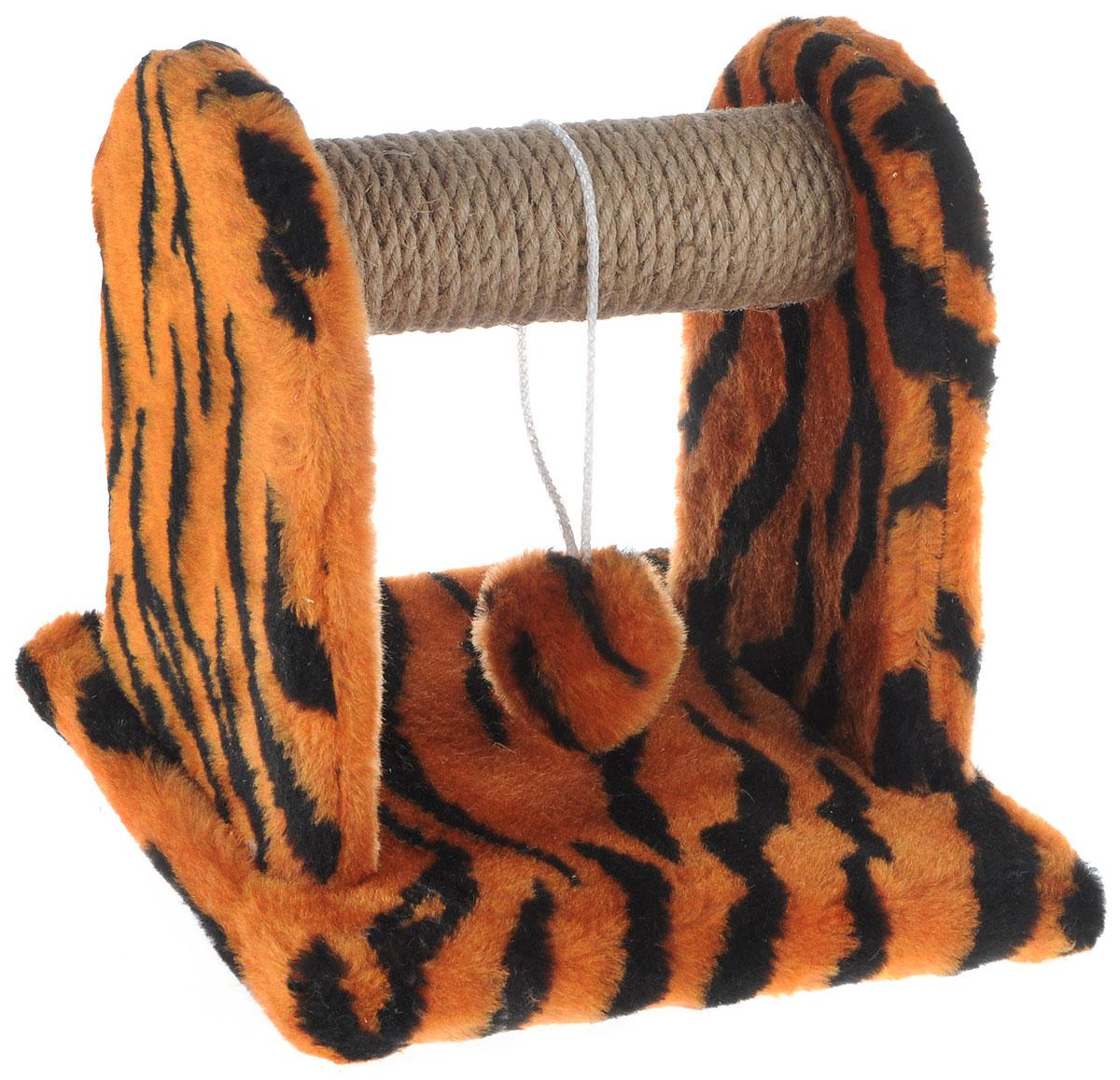 Когтеточка для котят Меридиан Тигровая, с игрушкой, 26 х 26 х 28 смК701Т