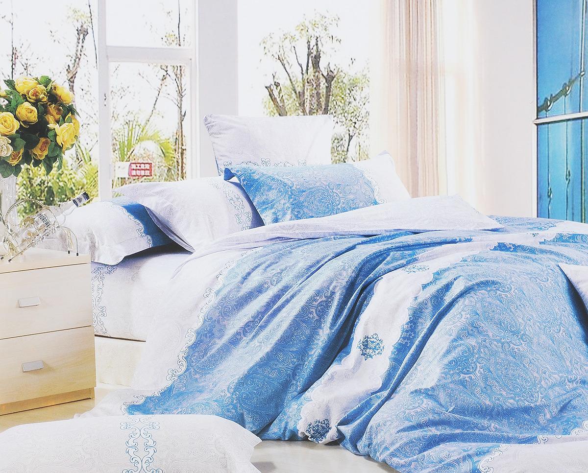 Комплект белья МарТекс Голубое кружево, евро, наволочки 50х70, 70х70, цвет: голубой, белый, серый01-0202-3Комплект постельного белья МарТекс Голубое кружево состоит из пододеяльника на молнии, простыни и четырех наволочек. Постельное белье оформлено оригинальным ярким рисунком и имеет изысканный внешний вид. Сатин - производится из высших сортов хлопка, а своим блеском, легкостью и на ощупь напоминает шелк. Такая ткань рассчитана на 200 стирок и более. Постельное белье из сатина превращает жаркие летние ночи в прохладные и освежающие, а холодные зимние - в теплые и согревающие. Благодаря натуральному хлопку, комплект постельного белья из сатина приобретает способность пропускать воздух, давая возможность телу дышать. Одно из преимуществ материала в том, что он практически не мнется и ваша спальня всегда будет аккуратной и нарядной. Приобретая комплект постельного белья МарТекс Голубое кружево, вы можете быть уверенны в том, что покупка доставит вам и вашим близким удовольствие и подарит максимальный комфорт.