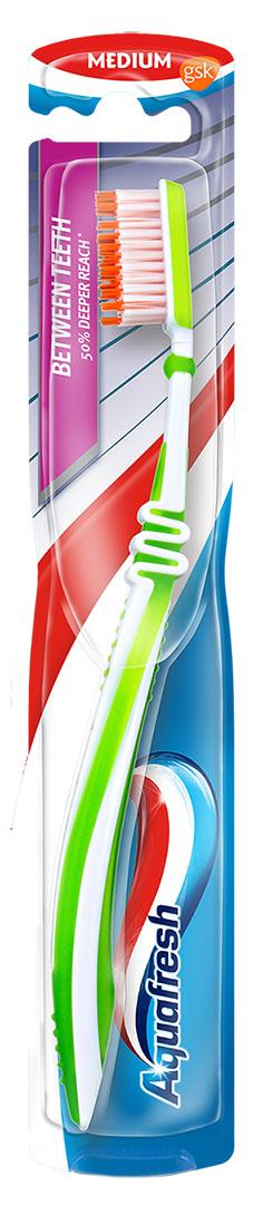 Aquafresh зубная щетка BETWEEN TEEIH2002123Зубная щетка Aquafresh Between Teeth medium. Щетина средней жесткости. Зубная щетка с Эффектом зубной нити - удлиненные микро щетинки щетки проникают между зубами глубже обыкновенных щеток и на 75% лучше вычищают между зубами. Подвижное соединение FLEX контролирует давление щетки на зубы и предотвращает возможные повреждения эмали и десен.